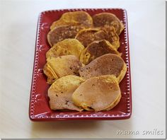 Delicious and healthy pumpkin pancake recipe! No added sugar, unless you add the optional chocolate chips. We eat these without syrup - the spices make them delicious on their own.  Do you have a favorite pancake recipe?