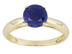 1.60ct Round Madagascar Blue Sapphire 14k Yellow Gold Solitaire Ring Web Only