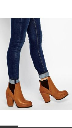 Brown leather ankle heeled boots