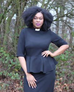 Honey Peplum Clergy Top Black blouse