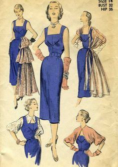 Vintage Advance 5786 Misses Sheath Dress with Constrast Stole or Side Skirt Drape, Bishop Sleeve Bolero Sewing Pattern Size 14 Bust 32 1950s Dress Patterns, Vintage Sewing Patterns, Clothing Patterns, Vintage Dresses, Vintage Outfits, 1950s Dresses, 1950s Fashion, Vintage Fashion, Mode Chic