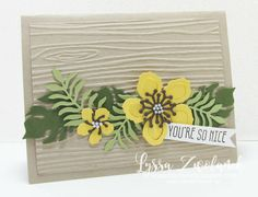 Yellow flowers on woodgrain EF