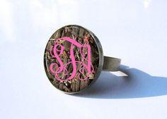 Monogram Ring Adjustable  400 by PishPoshPendants on Etsy, $8.95