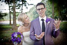 Purple suit, lol Purple Suits, Greenhouse Wedding, Bride Groom Photos, Couple Portraits, Purple Flowers, Bright, Wedding Inspiration, Elegant, Off Camera Flash