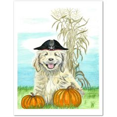 Halloween Pirate Puppy Watercolor Art Print by WildlifeGardenerArt