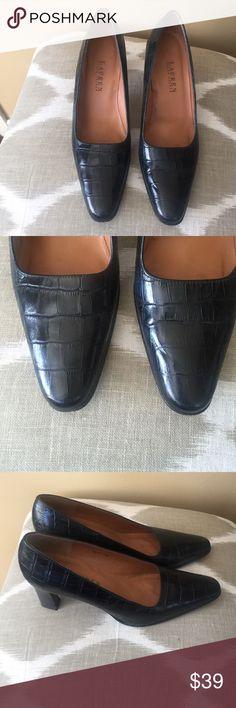 "Lauren Ralph Lauren Black Leather Pumps 8.5M. Excellent condition!  Lauren Ralph Lauren Black Crocodile Embossed Leather Pumps 8.5 M With 3"" Heels. (Fits more like a 8M) Lauren Ralph Lauren Shoes Heels"
