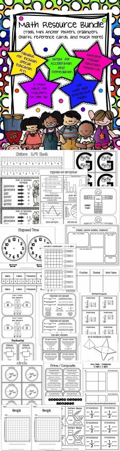 Math Resource Bundle - Manipulatives / Tools / Reference Cards / Organizers