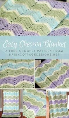 Easy Chevron Blanket Crochet Pattern - Daisy Cottage Designs - - This Chevron Blanket Crochet Pattern from Daisy Cottage Designs creates the perfect ripple blanket. Directions are given to make this blanket in any size. Crochet Ripple Blanket, Crochet Baby Blanket Free Pattern, Chevron Crochet, Chevron Blanket, Ripple Afghan, Crochet Afghans, Diy Crochet, Crochet Ideas, Baby Chevron