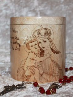 Log Rosary Box. Our Lady of Good Remedy. Star by CopperPennyCrafts