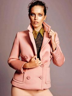 Emily DiDonato wears jacket and pants for Glamour Spain Magazine September 2015 issue Photoshoot