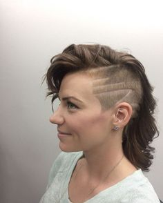 """She made this so easy for me. She came in with her hair parted already and said """"buzz this part. Put some lines in it if you want."""" Way fun..."""