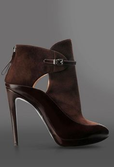Giorgio Armani Suede & Patent Chocolate Booties Fall 2014 #Armani #Shoes #Boots