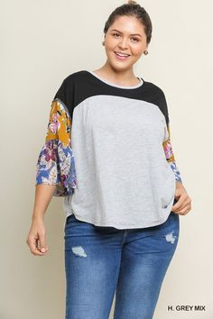 7112d5f062 Umgee Heather Gray Top with Floral Printed Bell Sleeves - Umgee Clothing