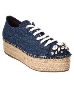 MIU MIU Miu Miu Embellished Denim Platform Espadrille Sneaker'. #miumiu #shoes #sneakers