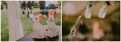 Cute wedding touches, light-up bunny nightlights and hanging glass vials with field flowers #marqueeweddingideas  Images by Lucabella. www.lucabella.co.uk