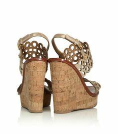 Tory Burch Nori Metallic Wedge Sandal : Women's Wedges   Tory Burch