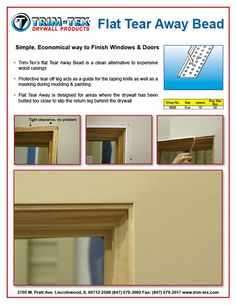 Economical Way to Finish Windows u0026 Doors - Tear Away Bead | Trim-Tex | Drywall Products  sc 1 st  Pinterest & Frame Doors with F Reveal Bead | Trim-Tex | Drywall Products ...