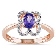 Miadora 10k Rose Gold Tanzanite and 1/10ct TDW Diamond Ring