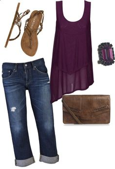 Dark blue capries, with a high low dark purple tank top and brown sandals with a cute brown purse!