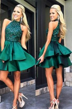 Short Prom Dresses #ShortPromDresses, Green Prom Dresses #GreenPromDresses, Prom Dresses Backless #PromDressesBackless