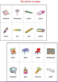 Los utiles escolares en inglés y su pronunciacion - Imagui Notebook Drawing, Drawing Pin, Pencil Eraser, Blackboards, Vocabulary, Worksheets, English, School, Books