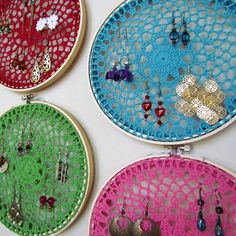 Bridesmaid Gift Earring Holders : 3 Crocheted Doily in Embroidery Hoop Jewelry Organizers. $50.00, via Etsy.