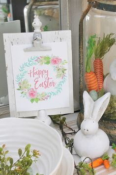 Happy Easter free Easter printable plus 28 more gorgeous Easter printables. These simple Easter decorating ideas will inspire you for the season!