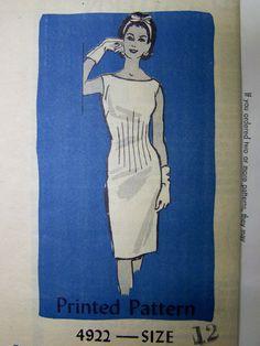 Vintage 1950s Mail Order 4922 Sexy WIGGLE DRESS pattern sz 12 UNused by RaggsPatternShop on Etsy