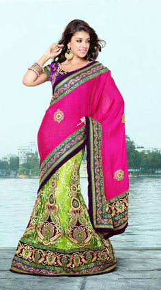 Lime Green And Dark Pink Faux Georgette Lehenga Saree RS291805