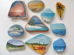 Original miniature art on sea glass & sea pottery