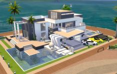 Cool Minecraft Creations, Modern Minecraft Houses, Minecraft Architecture, Minecraft Designs, Sims 4 Modern House, Sims 4 House Design, Sims 3 Houses Plans, Lotes The Sims 4, Muebles Sims 4 Cc
