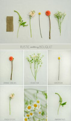 Our next bouquet recipe has a fall vibe and is filled with orange dahlias, peach stock, amaranthus, craspedia and fever few. Tied with a burlap wrap to give it a rustic look and feel. For the groom, Janie also designed a boutonniere that would match perfectly with this rustic wedding bouquet.