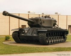 The T30 Heavy Tank was a World War II American tank project developed to counter new German tanks, such as Tiger I, Tiger II, and the Jagdtiger or Soviet heavy tanks, such as IS-1 or IS-2. It weighted 142,000 pounds, had a 155mm gun and 11 inches of armor on the turret.