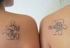 Mother Daughter Lock Keys Puzzle Tattoos