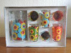 Original 60s / 70s French Luminarc Flower Print Jug & Glass Set