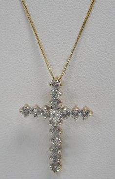 "14K YELLOW GOLD CROSS 1"" X .75"" PENDANT 1 CTTW DIAMOND 19"" NECKLACE CHAIN 2.9g #Pendant"