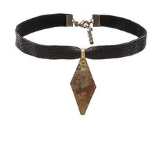 Child of Wild Bukhara Vintage Choker ($48) ❤ liked on Polyvore featuring jewelry, necklaces, leather necklace, vintage choker, lobster claw clasp charms, vintage charms and leather choker