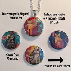 Interchangeable Magnetic Cat Necklace or by BellyLaughButtons