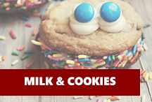 Milk & Cookies | How could you go wrong!? Milk Cookies, Muffin, Breakfast, Shower Ideas, Desserts, Baby Shower, Food, Monsters, Kitchens
