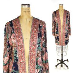 70s Bohemian Blazer / Vintage 1970s Floral Rayon Lightweight Jacket / Hippie Boho Ethnic Asian Kimono Inspired Paisley Duster by SpunkVintage