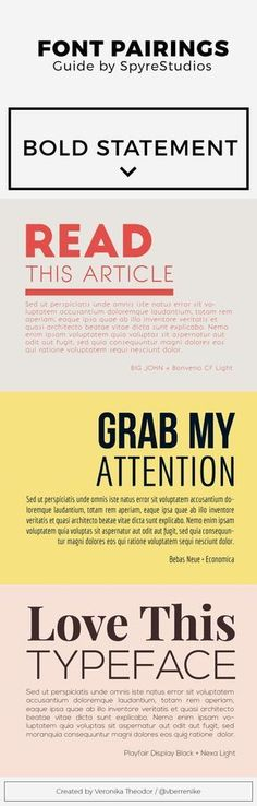 Great font pairings using free fonts.