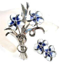 Antique Sterling Silver Flower Set Brooch Earrings Enamel Pansy Purple