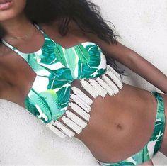 Hot Sexy Thick Padded Bikinis Women Swimwear Retro Low Waist Brazilian Bathing Suit