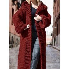 Solid Chunky knit Hooded Casual Long Cardigan (1002322445) - Sweaters - #322445 vencano Hooded Cardigan, Long Cardigan, Sweater Cardigan, Dress For Short Women, Hoods, Crochet, Knitting, Long Sleeve, Casual
