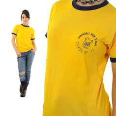 70s athletic ringer tee Cotton yellow/navy blue graphic design on front Marked size Large; Fits like Large Brand: Russel Southern Company Made in USA Excellent; No issues Measurements: Taken from seam