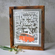 Wedding Campervan Boho Papercut by Kyleigh's Papercuts, the perfect gift for Explore more unique gifts in our curated marketplace. Reclaimed Wood Frames, Wall Colors, Colours, Single Sheets, Personalized Wedding Gifts, Floating Frame, Old Wood, Bright Pink, Paper Cutting