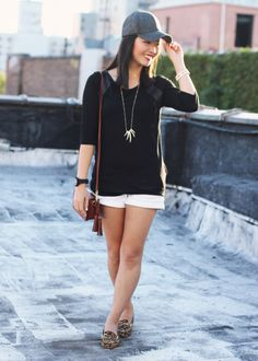 Skirt The Rules Blog; NYC fashion blogger; style blog; fall outfit photo; how to wear a baseball cap; Zara black leather panel top; Holliste...