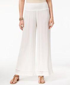 Style & Co Petite Crochet-Trim Wide-Leg Pants, Created for Macy's - Ivory/Cream P/XS