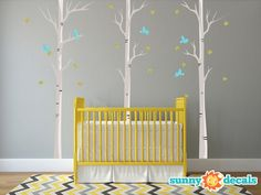 Modern Birch Trees Fabric Wall Decals with Birds by SunnyDecals, $119.99