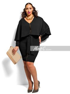 """London"" Cape Dress -Black"